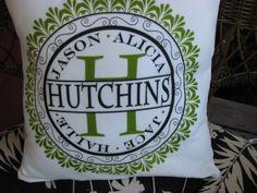 Personalized porch pillow family name. $20.00, via Etsy.