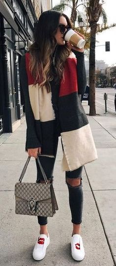 #winter #outfits red, black, and white stripe scarf and sweater