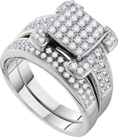 14KT White Gold 1.01CT ROUND DIAMOND LADIES INVISIBLE BRIDAL SET: Rings
