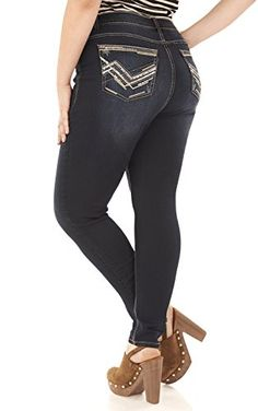 ffa4401638e15 Angels Jeans Women s Plus Size Embellished Skinny Jean in Adriana Size 24  Plus