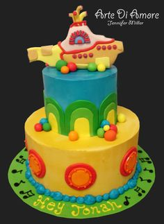 """Cake based on the song """"Yellow Submarine"""" by The Beatles. Submarine is hand sculpted fondant. Yellow Submarine Cake Beatles Cake, Beatles Birthday, Beatles Party, Yellow Submarine Cake, Paul Cakes, 4th Birthday Cakes, Birthday Cake Decorating, Specialty Cakes, Occasion Cakes"""