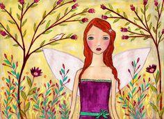 Fantasy Fairy Painting Art Print Mounted on Wood by Sascalia, $35.00