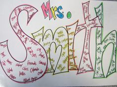 Grammatical Name Art - Write name in bubble letters. First letter write nouns that relate to you (common or proper nouns). Second letter with verbs that relate to you (action or linking verbs). Third letter with adjectives that describe you. Teaching Grammar, Teaching Language Arts, Teaching Writing, Teaching Ideas, Grammar Games, Grammar Practice, Grammar Skills, Classroom Language, Student Teaching