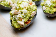 Chicken, brown rice and feta stuffed avocados by Kitchen Curious.