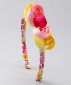 Take a look at this Pink & Yellow Floral Headband by Sweet Jewelea on #zulily today!