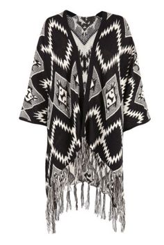 Black Aztec Print Waterfall Knitted Cardigan