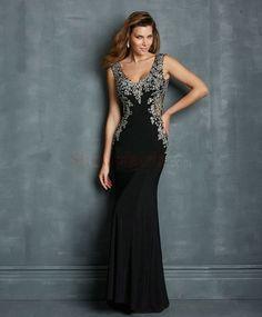 Sexy Sheath/Column V-neck Beading Satin Floor-Length Prom Dresses PD-30086