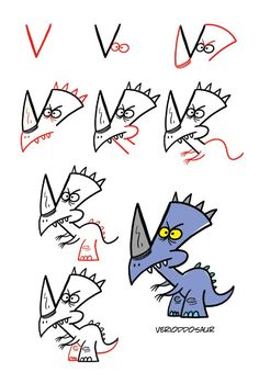 Draw Crazy Dinosaurs Using Letters and Numbers – Shop Harptoons drawings for kids Draw Crazy Dinosaurs Using Letters and Numbers Easy Cartoon Drawings, Easy Drawings For Kids, Doodle Drawings, Drawing For Kids, Cute Drawings, Doodle Art, Art For Kids, Drawing Ideas, Funny Kid Drawings