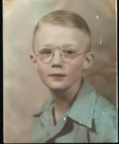 Young Man with Wire Rimmed Glasses Vintage Photo Hand Tinted Color | eBay
