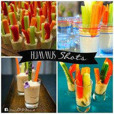"""How cool are these """"Hummus Shooters""""? I have a few recipes I have been dying to try and this would be perfect for football Sunday finger foods! What do you think?"""
