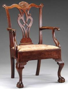 Chippendale Chair (Georgian Period)- Pointed shoulders, elaborate, carved back. Ball and claw feet, Period Furniture, Chippendale Chairs, Universal Furniture, Chippendale Furniture, Carved Furniture, American Furniture, Walnut Armchair, Wood Carving Furniture, Furniture Styles