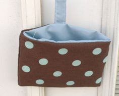 Blue and Brown Polka Dot Pocket by lovelylovedesigns on Etsy, $6.00