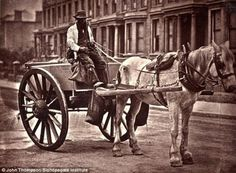 Photographs of street life in 1870s Victorian London -  poor malnourished horse.