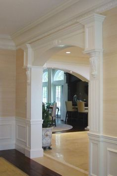 Ideas living room paint color ideas with wood trim wainscoting for 2019 Room Paint Colors, Interior Paint Colors, Paint Colors For Living Room, Interior Painting, Apartment Painting, Interior Columns, Interior Trim, Interior Design, Interior Ideas