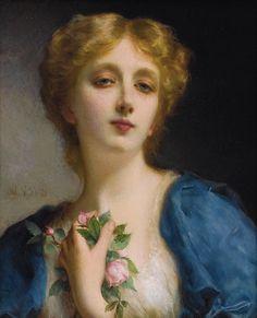 Piot, Etienne Adolphe (b,1850)- Woman w Flowers, I (Secret Admirer) -2b