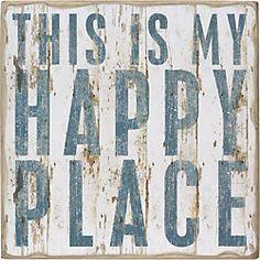 Primitives by Kathy This is My Happy Place - Vintage Plank Board Beach Coastal Decor Box Sign - Jumbo x Box Signs, Wall Signs, Wall Plaques, Coastal Cottage, Coastal Decor, Coastal Style, Coastal Living, Deco Marine, Beach Room