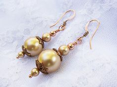 Antiqued Copper and Gold Pearl Beaded Dangle by TheTripleJewel, $16.00