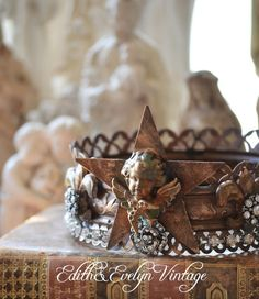 Ornate Statue Crown with Rhinestones French by edithandevelyn on Etsy