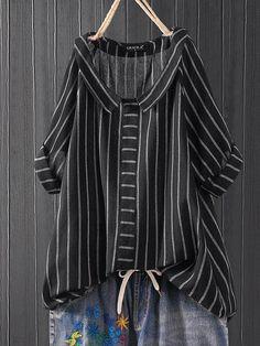 VITryst-Men Classic Fit Mock Neck Horizontal Stripes Jersey Shirt
