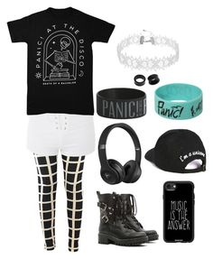 """""""panic! at the disco"""" by nobutigotcheesewhiz on Polyvore featuring Topshop, RED Valentino, Beats by Dr. Dre, Casetify, Boohoo, Hot Topic and NOVICA"""