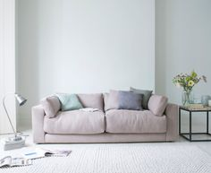 Our comfy Atticus is a gorgeous, deep sofa. Like all our sofas, it's handmade in Blighty. You can choose from over 120 fab fabrics including this soft pink Putty Broadweave linen. Living Room Chairs, Living Room Decor, Dining Room, Deep Couch, Deep Seated Sofa, Shabby Chic Table And Chairs, Comfy Sofa, Ideas Hogar, Contemporary Sofa
