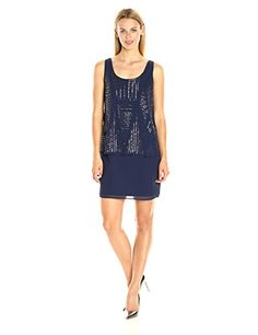 laundry BY SHELLI SEGAL Women's All Beaded Pop Over Cocktail - New Dresses Special Today
