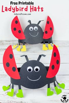 Isn't this Ladybug Hat Craft adorable? These ladybug headbands are really easy to make with the free printable ladybug craft template. Such a fun Summer insect craft for kids. Headband Crafts, Hat Crafts, Paper Crafts, Headbands, Craft Activities For Kids, Preschool Crafts, Crafts For Kids, Preschool Ideas, Craft Kids