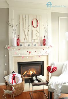 Valentine's Day Mantle 2014 | The Kim Six Fix. Love the love sign...could do on canvas and paint it a cool background, then glue on letters.