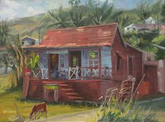 Barbados shanty...looks like a comfy old shoe..and the dog in the front..  <3