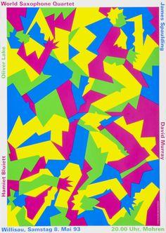 World Saxophone Quartet, 1993, designer: Niklaus Troxler.  Carnegie Mellon Swiss Poster Collection