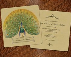 100 Vintage Inspired Save the Dates or Wedding Invitations Custom for You - Peacock Theme  $180