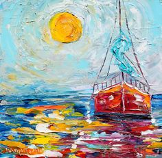 Original Sailing ocean Harbor Boat Sunrise oil painting by Karensfineart