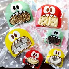 Cute Monster Cello Cellophane Bags Party Favor Gift Biscuit Sweets Bag 10*10cm