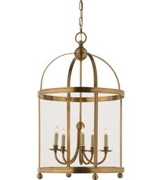 Visual Comfort E.F. Chapman Edwardian 5 Light Ceiling Lantern in Antique-Burnished Brass CHC3428AB #visualcomfort #lightingnewyork #lighting