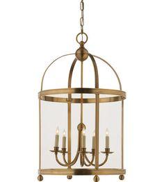 Visual Comfort E.F. Chapman Edwardian 5 Light Ceiling Lantern in Antique-Burnished Brass CHC3428AB #visualcomfort #lightingnewyork #lighting