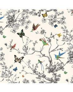 F. Schumacher - Birds And Butterflies Wallpaper