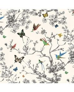 F. Schumacher - Birds And Butterflies Wallpaper