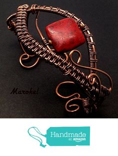 Red Square Copper Bracelet Wire Wrapped Abstract from Marokel Industrial Designs http://www.amazon.com/dp/B01AGXIA5C/ref=hnd_sw_r_pi_dp_2zdLwb0X6DHWV #handmadeatamazon