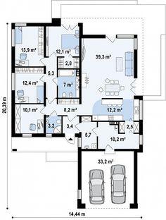 Проект особняка в стиле хайтек с камином  S3-182-3 (ZX103). План 1. Shop-project