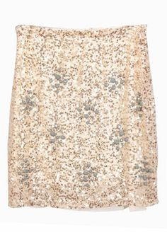 Apricot Beading Sequined Embellished Skirt  #SheInside