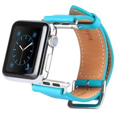 [USD12.37] [EUR11.54] [GBP9.10] Kakapi Metal Buckle Cowhide Leather Watchband with Connector for Apple Watch 38mm(Blue)
