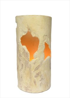 Fractured tealight cylinder by Claire Lovett Ceramics