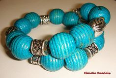 Blue memory wire bracelet chunky beaded by MahelieCreations, $10.00