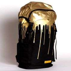 Sprayground - Gold Drips Top Loader Backpack, Size: O/S, Color: Multi Gold Outfits For Men, Black And Gold Outfit, Moda Formal, Gold Drip, Gold Backpacks, Diaper Bag, Or Noir, Steam Punk, Backpack Bags