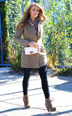 Blake Lively from Celebs in Coats  One word: Stunning. Blake bringscoat-cool to another level with this undeniably chic, fur-linedPeuterey number.