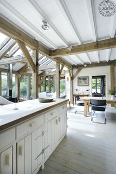 A beautiful self-build guest house in Argyll designed by architect Roderick James. The oak frame and timber clad home is a prototype for 'expandable' living Painted Beams, Painted Wood, Oak Framed Extensions, Timber Frame Homes, Timber Frames, Clad Home, Oak Framed Buildings, Oak Frame House, Interior Architecture