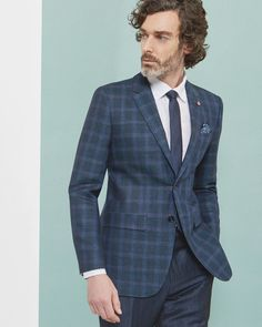 Checked wool and linen-blend jacket - Teal   Suits   Ted Baker  Around $1,675.
