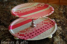 Tiered Tray Ideas using candle holder and pizza pan