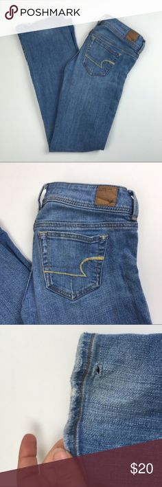 """American Eagle Slim Boot Light Wash Jeans Good condition. Small hole on back of hem. Normal wear and tear. Clean and comes from smoke free home. Questions welcomed! Approx. measurements: Waist: 14.5"""" across. Inseam: 30.5"""" American Eagle Outfitters Jeans Boot Cut"""