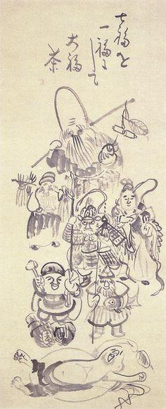 仙厓「七福神画賛」(江戸時代)